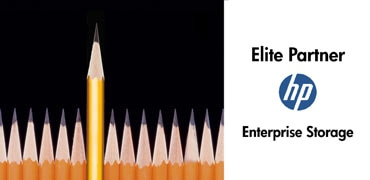 row of pencils with one pencil raised - Elite Partner - hp logo - Enterprise Storage
