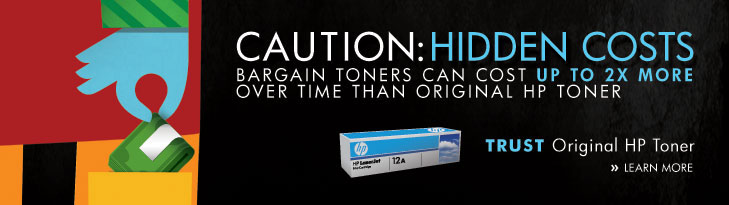 CAUTION: HIDDEN COSTS - 1 in 3 BARGAIN TONERS LEAK, STREAK OR FAIL. Trust Original HP Toner - Learn More