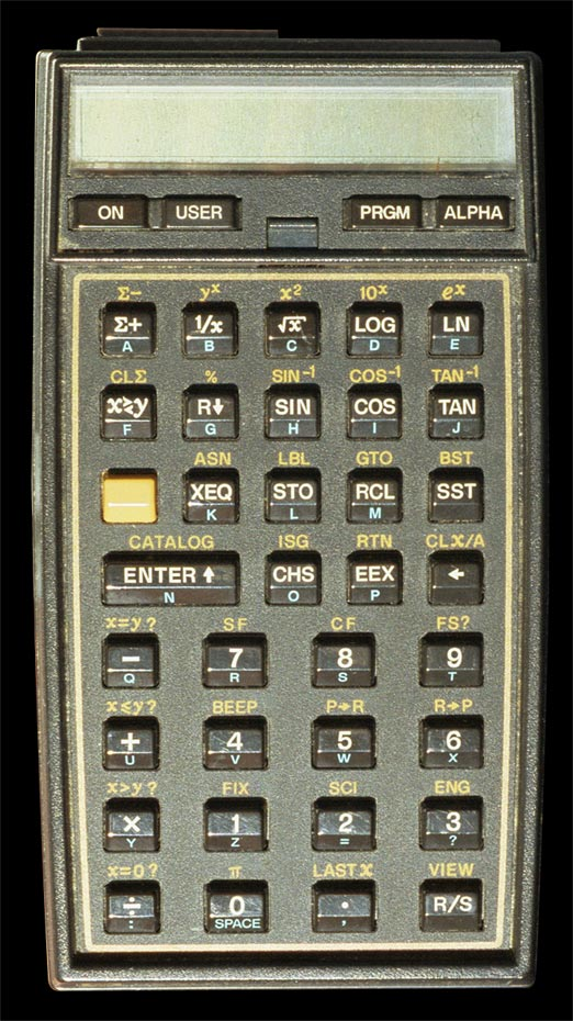 Hewlett-Packard-41CX alphanumeric handheld computer - top view.