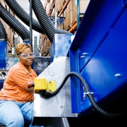Image of a recycling plant worker
