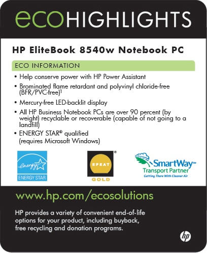 Ecolabel for HP EliteBook 8540w Notebook PC