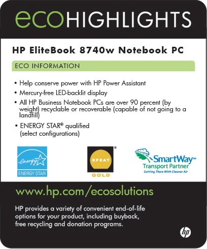 Ecolabel for HP EliteBook 8740w Notebook PC