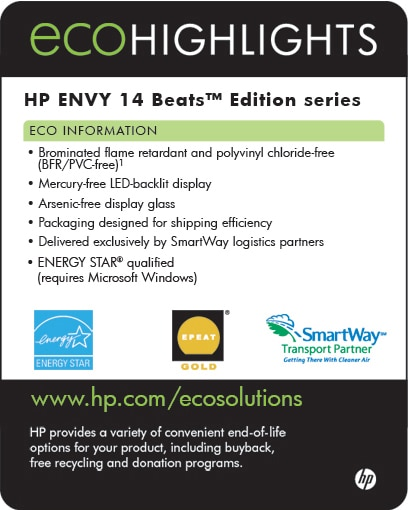 Ecolabel for HP ENVY 14 Beats™ Edition series