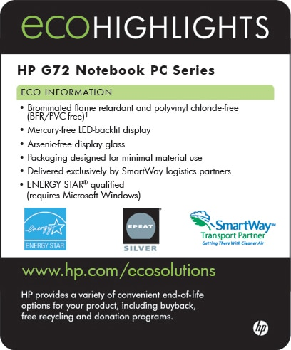 Ecolabel for HP G72 Notebook PC series