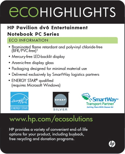 Ecolabel for HP Pavilion dv6 Entertainment Notebok PC series