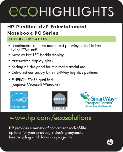 Ecolabel for HP Pavilion dv7 Entertainment Notebok PC series