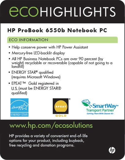 Ecolabel for HP ProBook 6550b Network PC