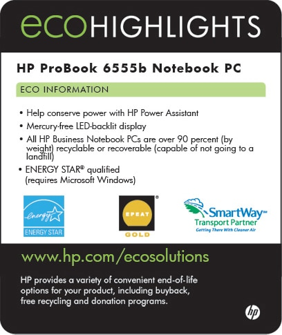 Ecolabel for HP ProBook 6555b Network PC