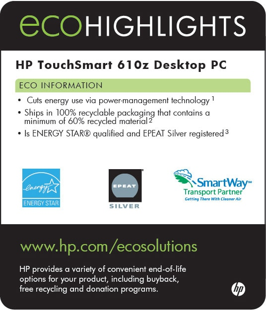 Ecolabel for HP TouchSmart 610z Desktop PC