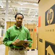 HP employee with packages