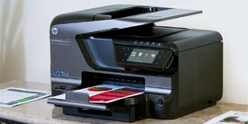 Officejet Pro 8600 Plus with graph in output tray