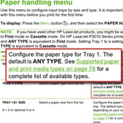 HP LaserJet manual showing Paper handling menu