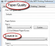Paper/Quality and Source circled on PC printer properties