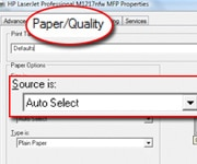 Paper Quality and Source circled on PC printer menu