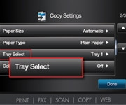 Tray Select circled on printer touchscreen