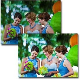 Before and after images of a colorful wedding party