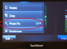 Editing menu on the HP Photosmart Plus e-All-in-One