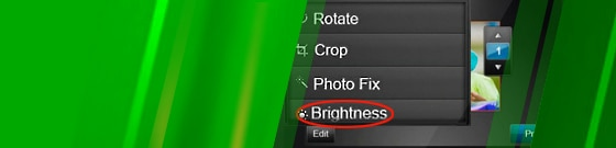 "Close-up of ""Brightness"" option on touchscreen"