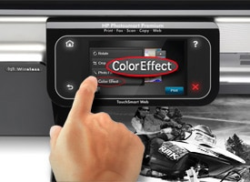 Hand pressing Color Effect on touchscreen