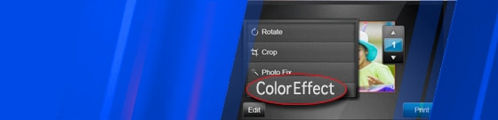 "Close-up of ""Color Effects"" option on touchscreen"