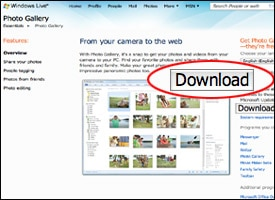 Screenshot of Windows Live Photo Gallery download page