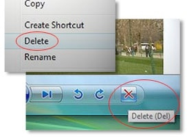 Close-up of two photo deletion options.