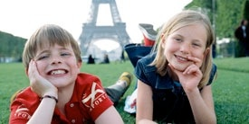 Children by the Eiffel tower.