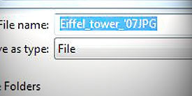 Close-up of a file name in a computer text box.