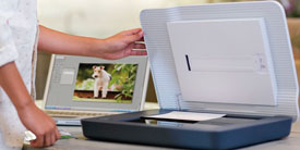 Picture of HP Scanjet 3110 scanning a vertically oriented photo
