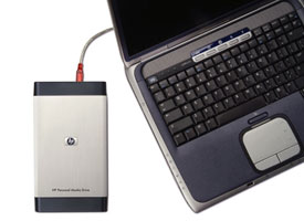 External hard drive connected to a Notebook PC.