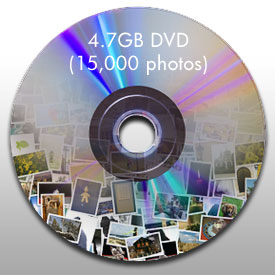 Photo of disc showing that 4.7GB equals 15,000 high-quality photos