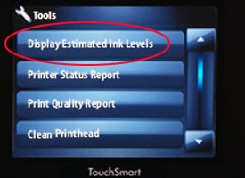 "Printer touchscreen with ""estimated ink levels"" circled in red"