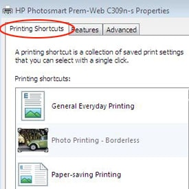 Printer shortcut printer setting screen