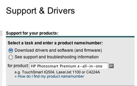 Picture of HP Support printer driver search tool