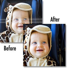 Before and after photos of streaked photo