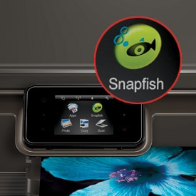 Touchscreen with Snapfish icon