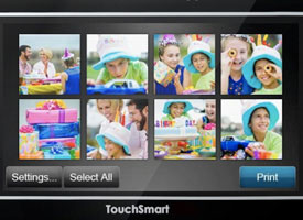 Touchsmart screen close-up