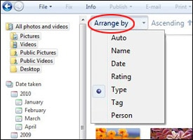 """Arrange by"" circled in Windows Live Photo Gallery"