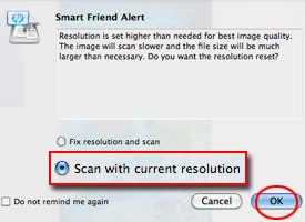 Resolution circled in HP Scan