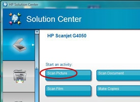 HP Solution Center with Scan Picture circled