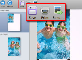 Save, print, and send circled in HP Scan