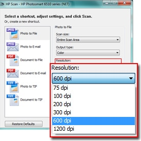 screenshot of Resolution drop-down menu
