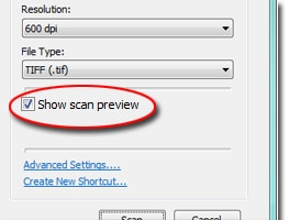 screenshot of scan menu with Show scan preview call-out