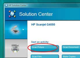 HP Solution Center menu with Scan Picture option circled.
