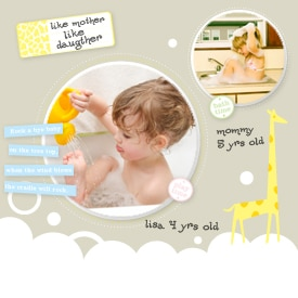 Scrapbook page featuring photos of a mother and daughter taking baths