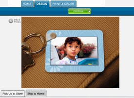 Photo of little girl on key chain in Preview mode.