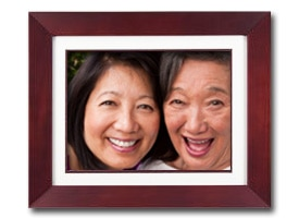 Close-up of mom and daughter in an Digital Picture frame