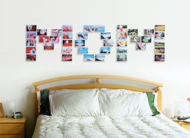 Picture of taped-up photo wall display