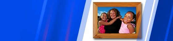 mother and daughters photo in frame with blue color wash