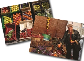 photo of crates of fruit and photo of man with fruit stand